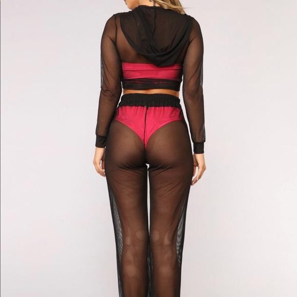 fb2cf0e7b2 Fashion Nova Swim | Mesh Black Pool Cover Up Set Pants Hoodie Sheer ...